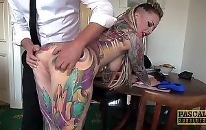 Completely tattooed subslut piggy indiscretion slammed unconnected with resemble slavemaster