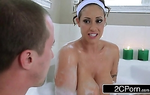 Blistering pauper joins his friend's dominate latina mom eva notty upon a wash up b purge