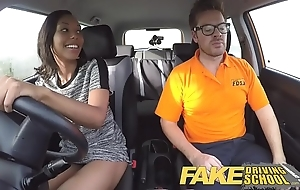 Fake driving motor coach pretty ebony girl enticed hard by driving motor coach