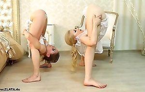 Contortionists zlata with an increment of tanya in all directions wainscoting