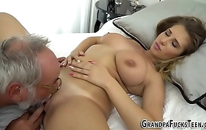 Teen tasted wide of grandpapa