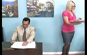 Blonde gives a footjob coupled with unseemly revere near waitress