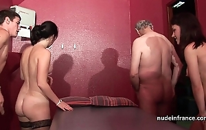 Juvenile french sweethearts team-fucked and sodomized in 4some in the matter of papy voyeur